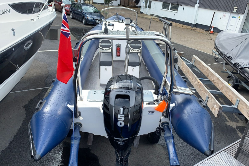 1643 - XS650 RIB with Mercury 150 engine and trailer - Aft