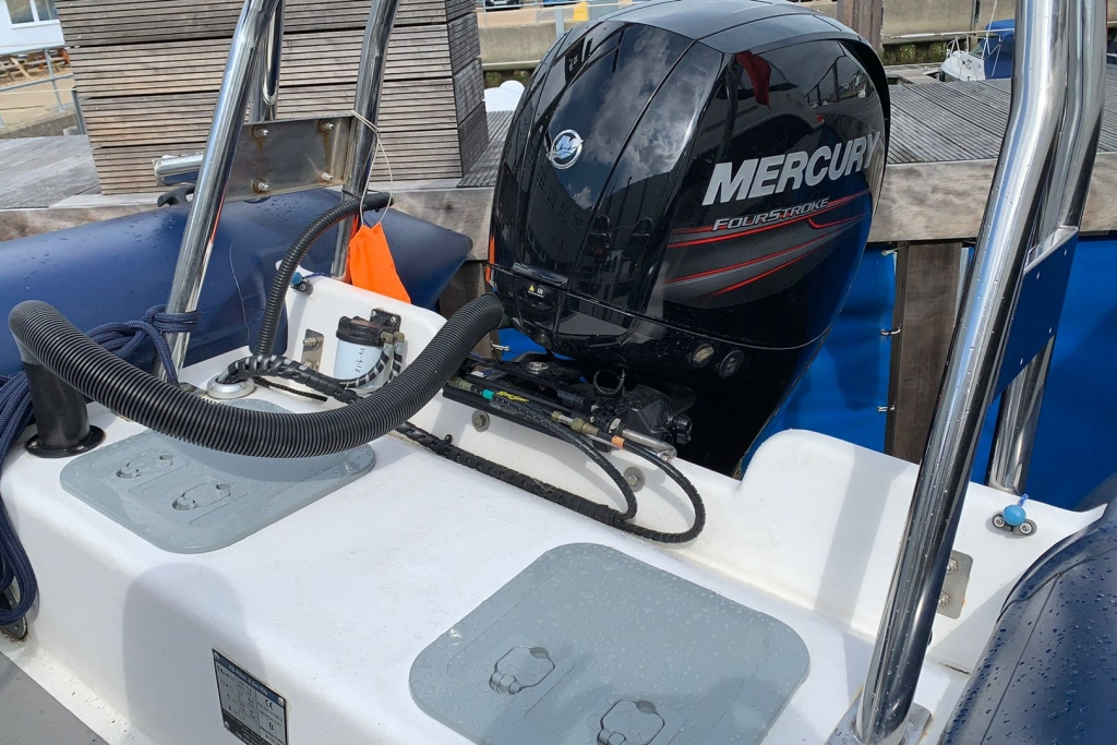 1643 - XS650 RIB with Mercury 150 engine and trailer - Engine and steering