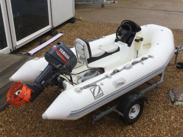 1247 - zodiac 3.4 rib with yamaha 25 two stroke and trailer - aft starboard quarter_l