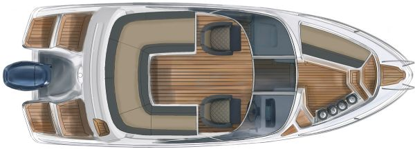 finnmaster 62 bow rider with yamaha engine - boat layout diagram from above_l