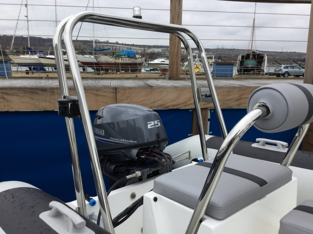 Stock - 1487 - Ballistic 4.3 RIB with Yamaha F25F engine and trailer - Rear frame and seat.