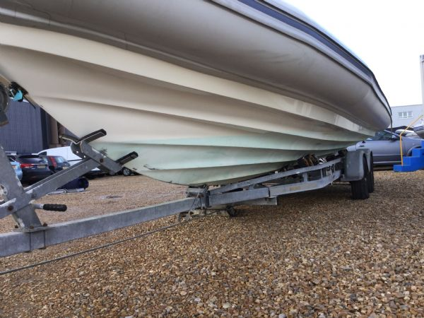 1435 - ballistic 7.8m rib with evinrude 250hp outboard and trailer - port hull_l
