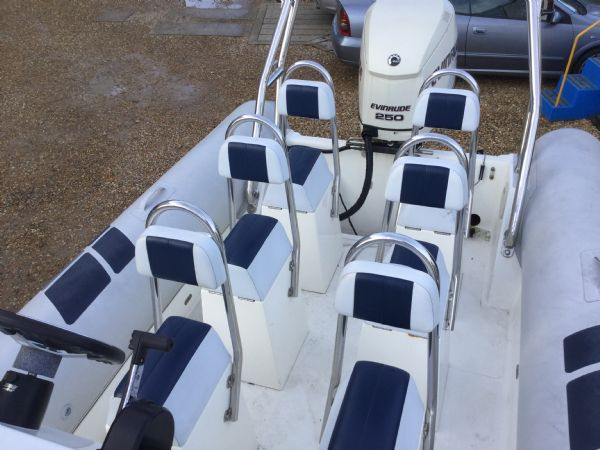 1435 - ballistic 7.8m rib with evinrude 250hp outboard and trailer - seats_l