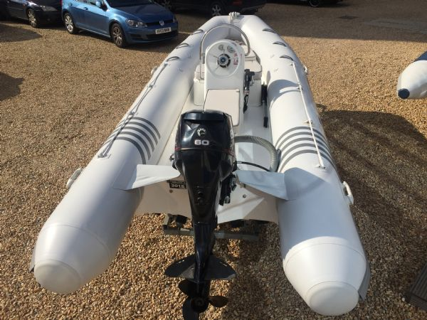 1436 - excel 470 rib with evinrude 60hp outboard engine and trailer - full boat overview_l