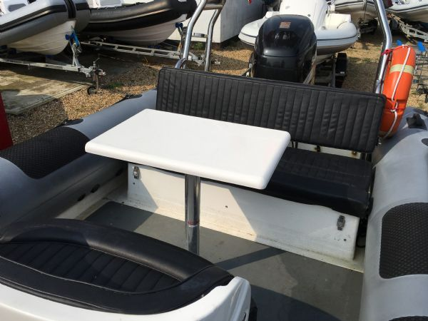 1431 - ribcraft 7.8m rib with suzuki 250hp outboard engine and trailer - seating area with picnic table_l
