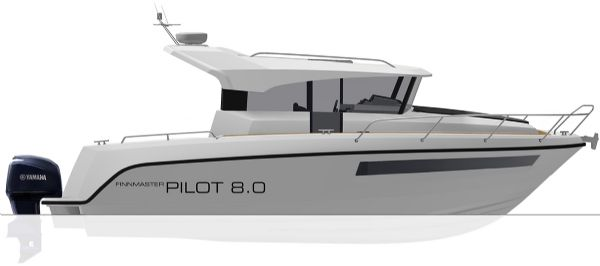 finnmaster pilot 8 with yamaha outboard engine - boat diagram side view_l