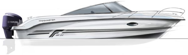 finnmaster 68 day cruiser with yamaha outboard engine - boat diagram side view_l