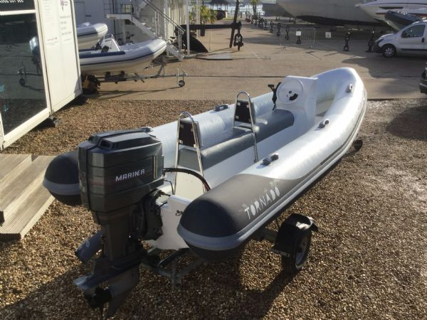 1425 - tornado 5.3m rib with mariner 75hp outboard engine and trailer - aft starboard quarter_l