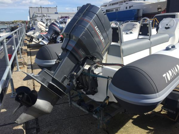 1425 - tornado 5.3m rib with mariner 75hp outboard engine and trailer - stern_l