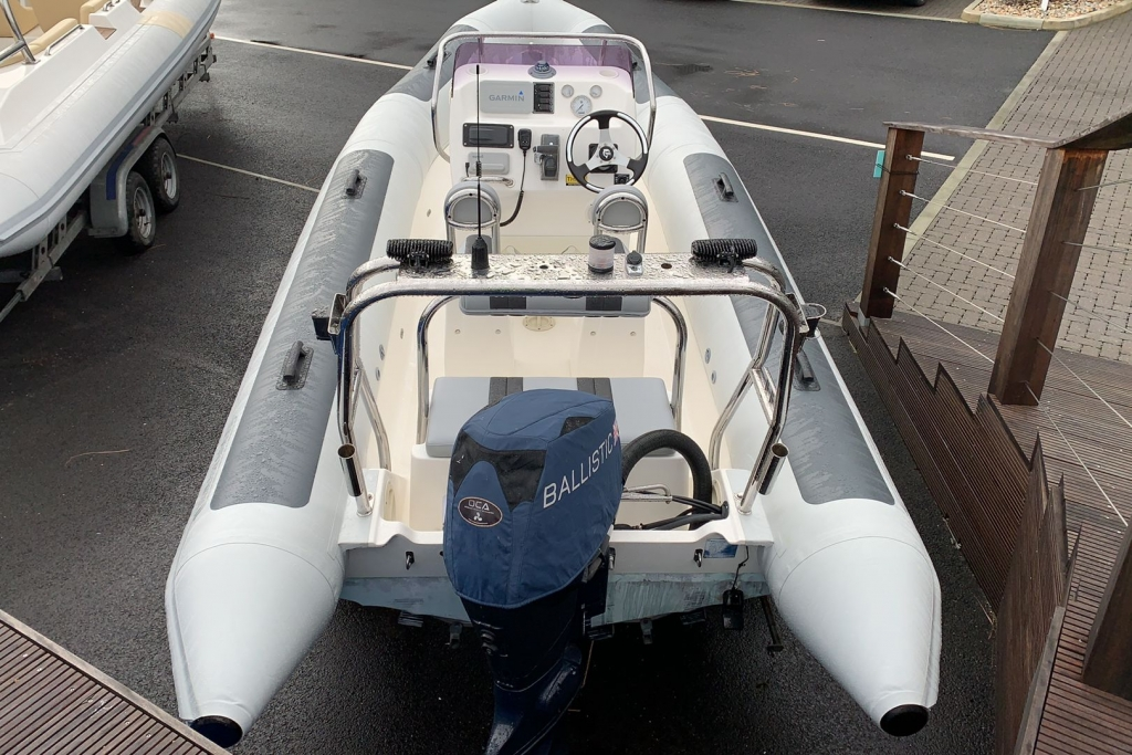 1565 - Stock - Ballistic 5.5 RIB with Evinrude ETEC 75 engine and Trailer - Aft