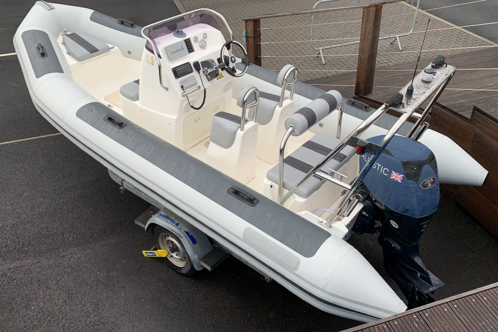 1565 - Stock - Ballistic 5.5 RIB with Evinrude ETEC 75 engine and Trailer - Aft Portside