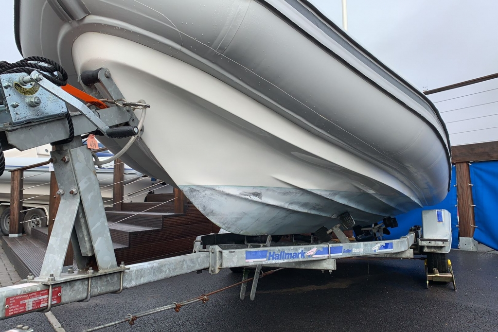 1565 - Stock - Ballistic 5.5 RIB with Evinrude ETEC 75 engine and Trailer - Portside hull