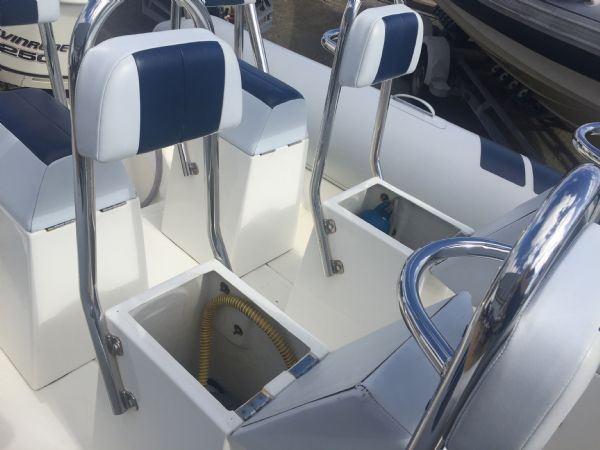 1419 - ballistic 7.8m rib with evinrude etec 250hp outboard engine and trailer - jockey seat lockers_l