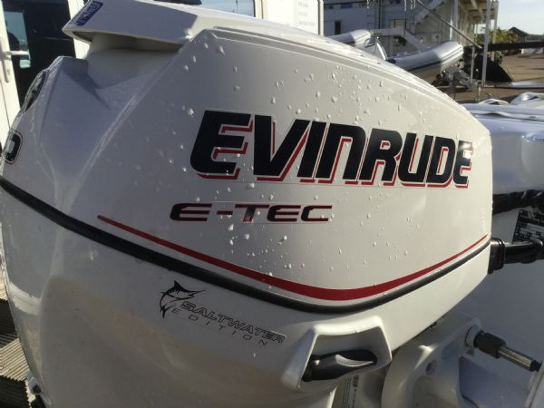 1406 - ballistic 3.4m rib with evinrude etec 40hp outboard engine and trailer - engine cowling_l