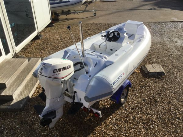 1406 - ballistic 3.4m rib with evinrude etec 40hp outboard engine and trailer - rear starboard quarter_l