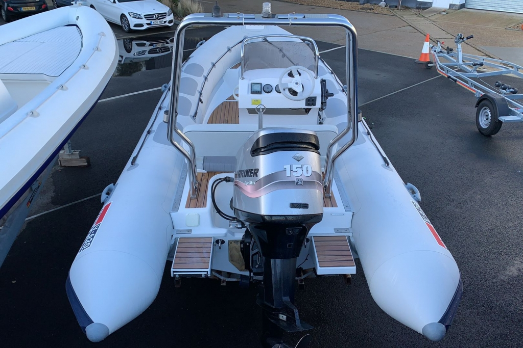 1624 - Stock - Valiant 620 RIB with Mercury Optimax 150 engine and trailer - Aft
