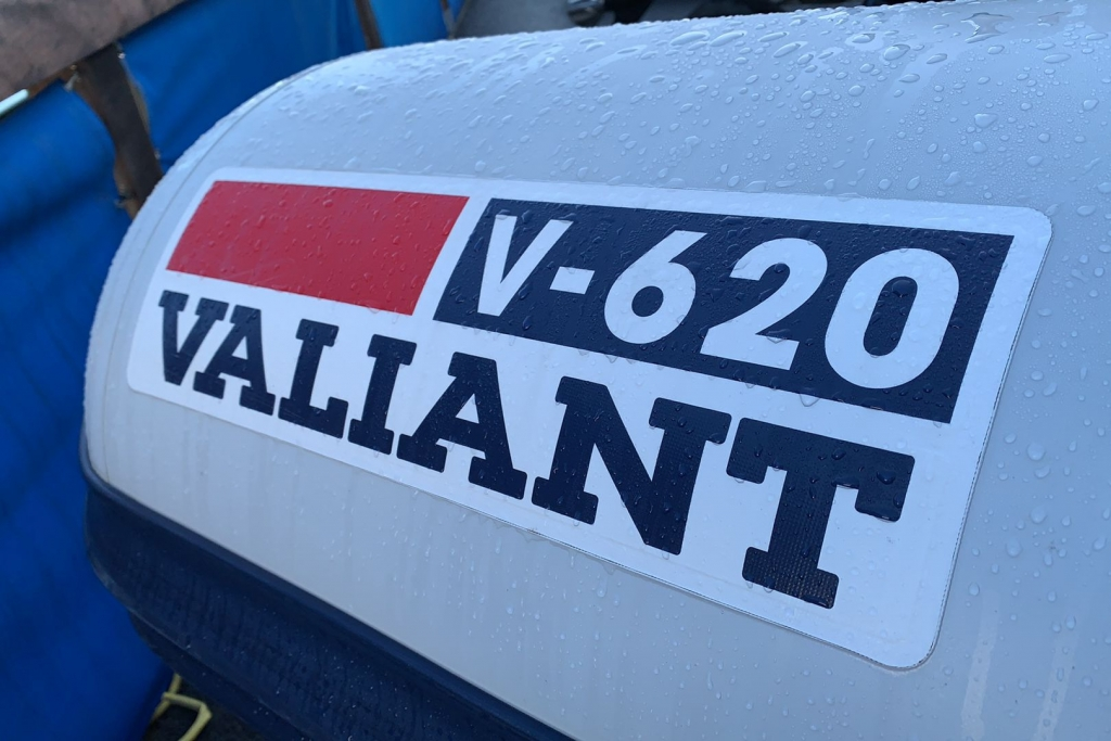 1624 - Stock - Valiant 620 RIB with Mercury Optimax 150 engine and trailer - Valiant logo