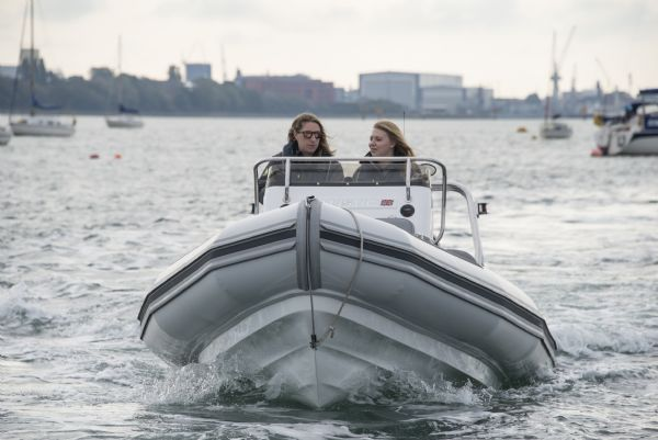ballistic 6.5m rib with yamaha f200hp outboard engine - hull and bow on water_l