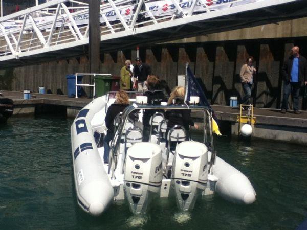 ballistic 7.8 twin rig rib with twin evinrude e-tec 175hp outboard engines - stern_l