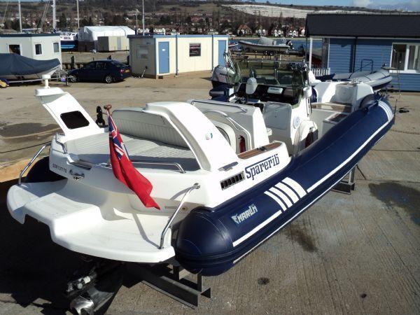 marline 22 rib with mercruiser inboard diesel engine - transom looking forwards 4_l