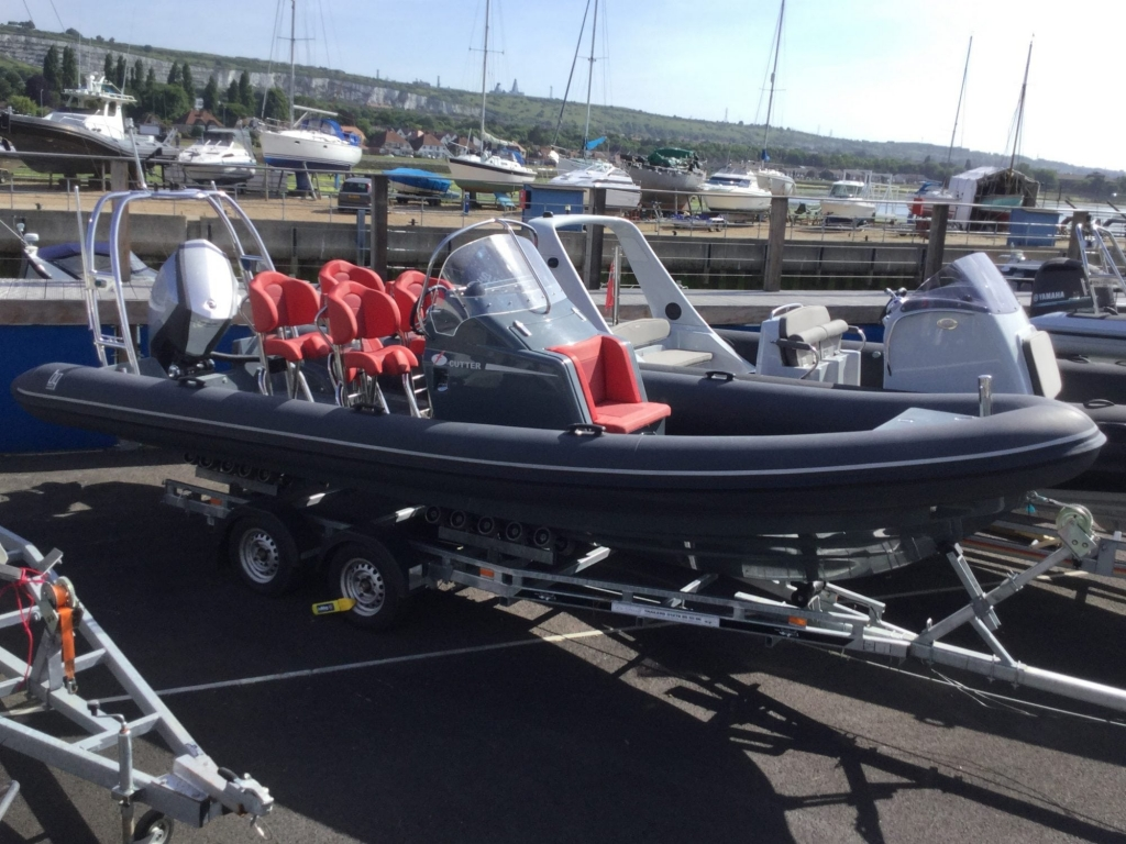 Click to see Used Shearwater Cutter Custom 6.8 RIB with Evinrude ETEC 250hp V6 Engine.