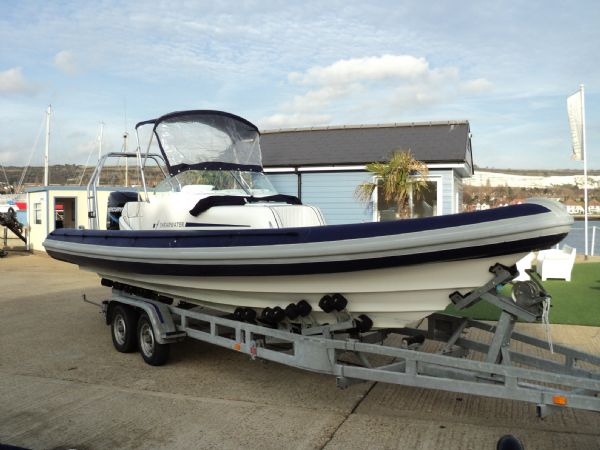 shearwater 7.5 with mercury 200hp outboard engine - profile with bimini 4_l