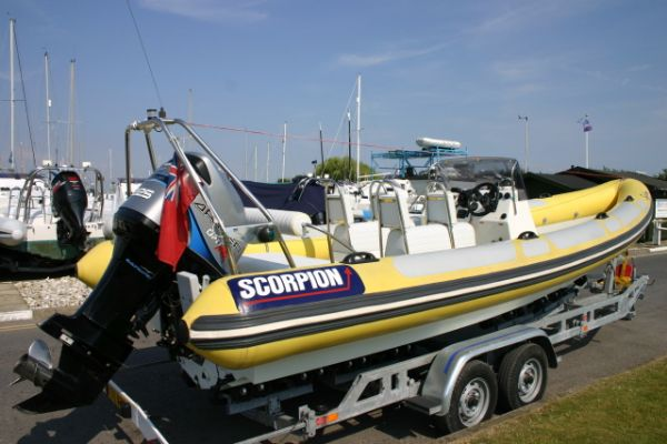 Click to see Used Scorpion 7.5m RIB with Mariner Optimax 225HP Engine