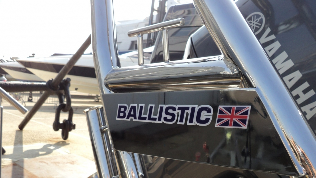 1365 - Ballistic 650 RIB with Yamaha F200G Outboard - Rear cleat and Ballistic emblem