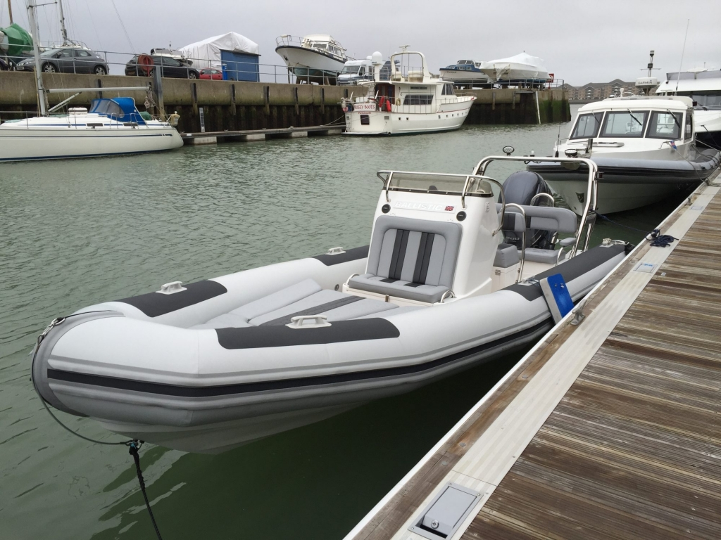 1365 - Ballistic 650 RIB with Yamaha F200G Outboard - Wet dock from front