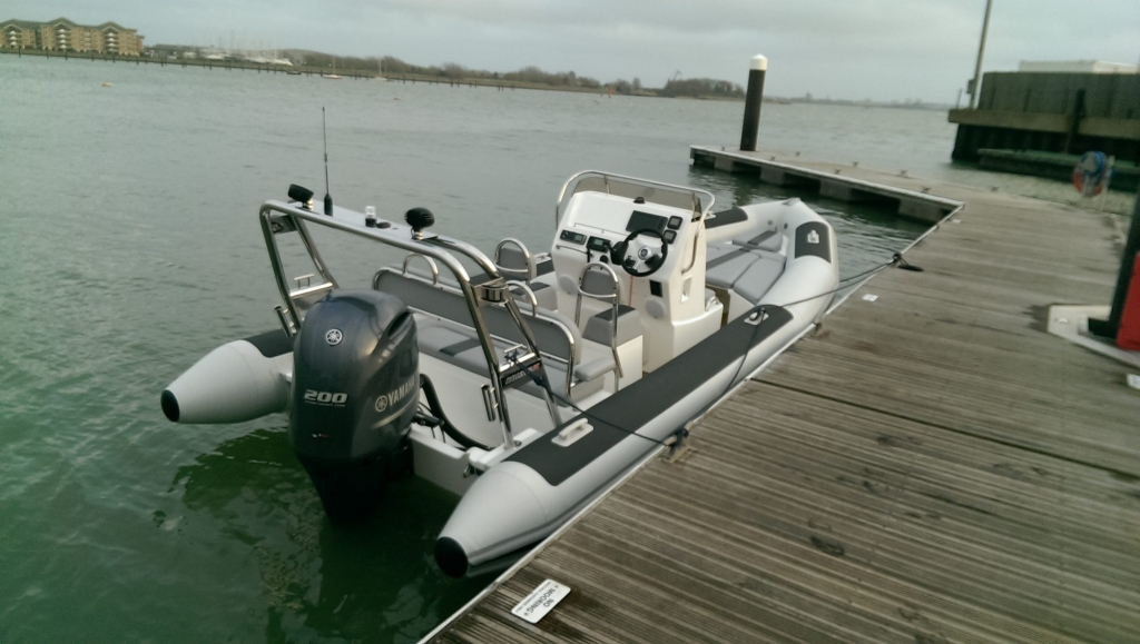 1365 - Ballistic 650 RIB with Yamaha F200G Outboard - on water from rear