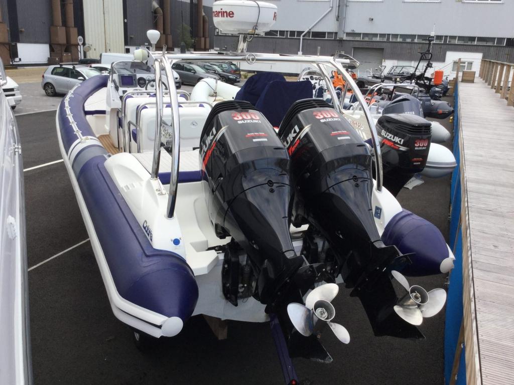 1509 - Stock - Cobra 9.5 RIB with twin Suzuki DF300 engines - Aft Port side