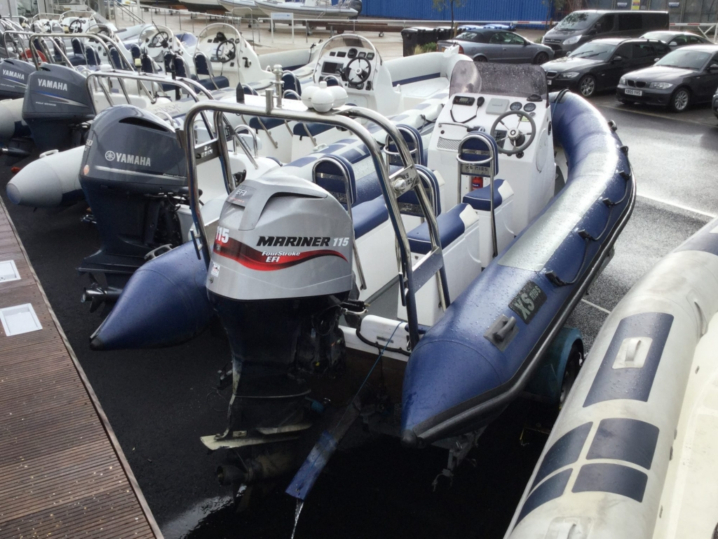 Stock - 1548 - XS600 RIB with Mariner 115hp engine and trailer - Aft qtr 1