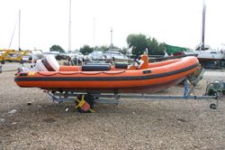 Click to see Used Humber Destroyer 5.8m RIB / Speed Boat with Johnson 150HP Outboard Engine