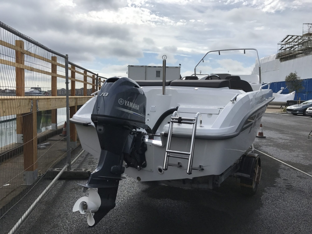 Stock - 1460 - Finnmaster 55 SC Day Boat with Yamaha F70HP Outboard Engine - Stern and Bathing Ladder