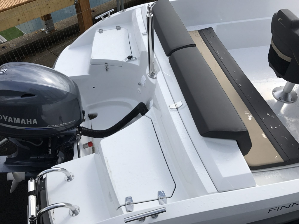 Stock - 1460 - Finnmaster 55 SC Day Boat with Yamaha F70HP Outboard Engine - stern lockers and canopy garage