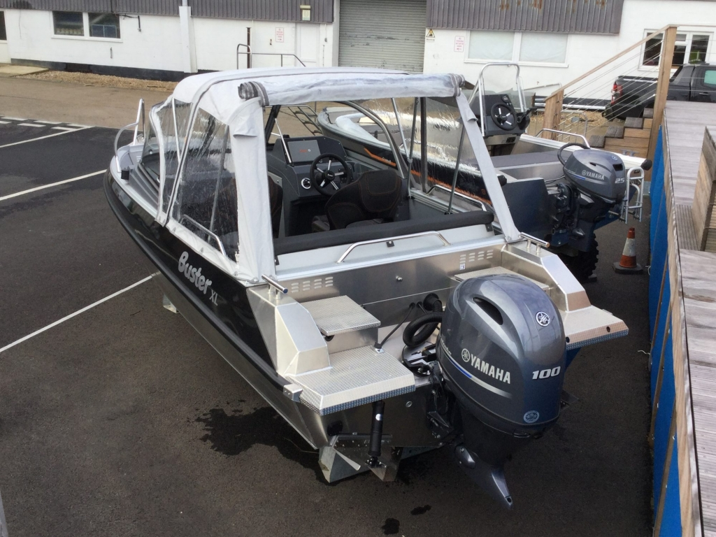 Stock - 1532 - Buster XL Boat with Yamaha F100 engine - Aft with canopy