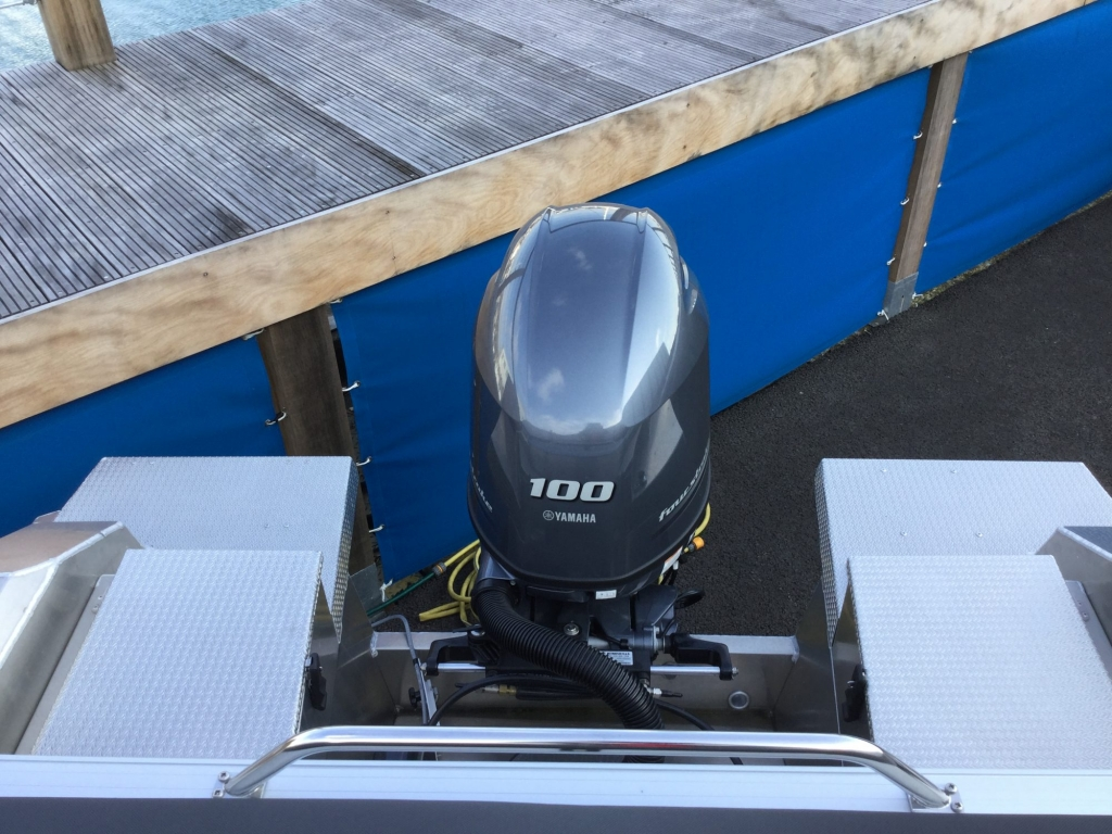 Stock - 1532 - Buster XL Boat with Yamaha F100 engine - Engine well
