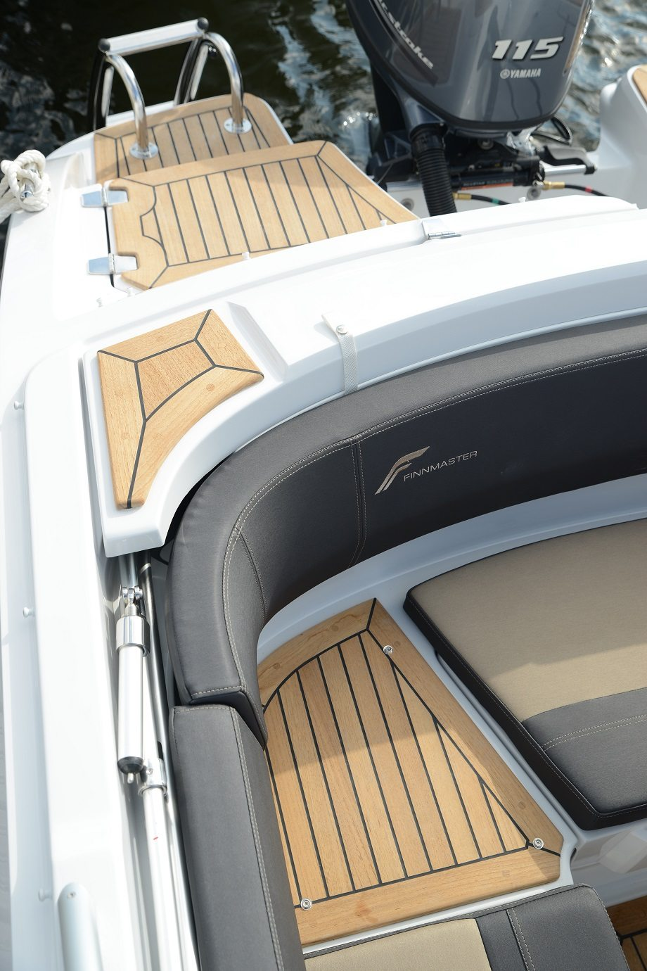 Finnmaster 62 Day Cruiser with Yamaha Outboard Engine - Canopy storage and teak decking on bathing platforms