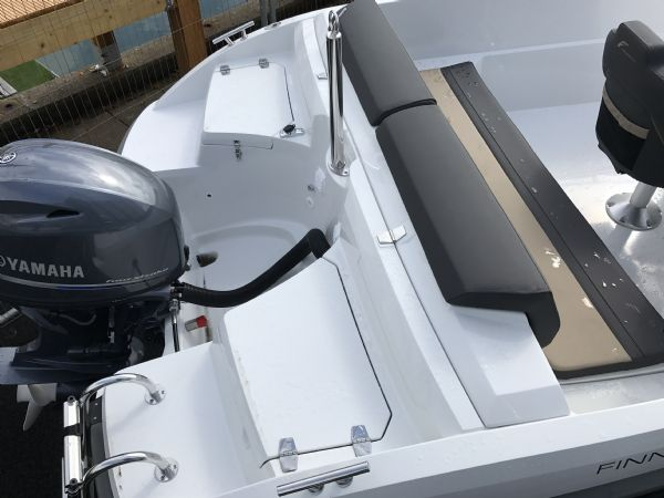 stock - 1460 - finnmaster 55 sc day boat with yamaha f70hp outboard engine - stern lockers and canopy garage_l