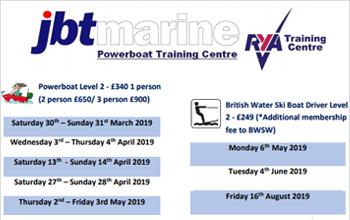 RYA Training Calendar 2019 - JBT Marine Training Dates 2019