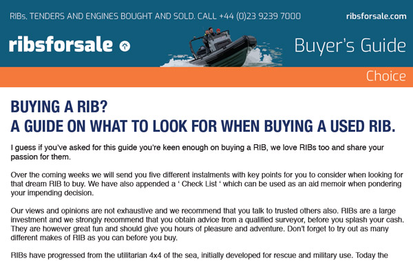 How to buy a RIB - The Essential Guide from Ribs For Sale - Buyers Guide